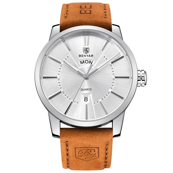"Letsatsi la Display la Analog Men Men ea Quartz ea banna ba 30M e sa keneleng metsi e le 'ngoe ea ""Leather Strap Casual Watch"" Wholesale_Star_1"