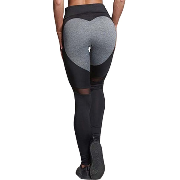 Heart Pattern Mesh Splice Leggings Athleisure Fitness Clothing - Wholesale_Star_1