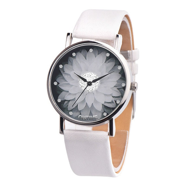 Flower Casual Leather Analog Quartz Wrist Watches Clock Gifts - Wholesale_Star_1