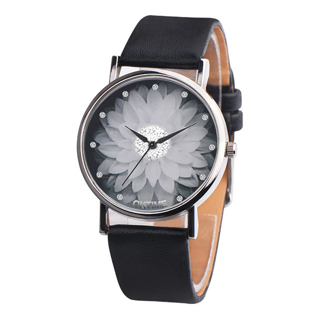 Flower Casual Leather Analog Quartz Wrist Watches Clock Gifts