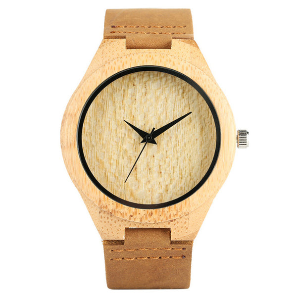 Elephant Engraving Bamboo Wrist Watch Great Gifts