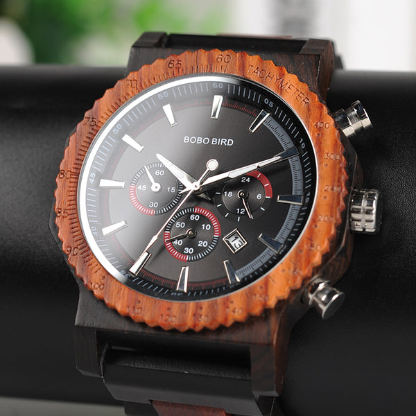 Big Size BOBO BIRD Wooden Quartz Top Luxury Watches Gifts