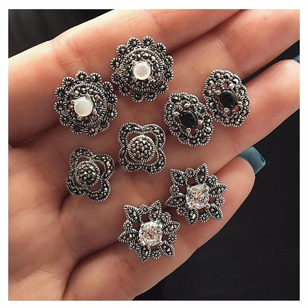 4Pairs / Set Boho Arrow Cross Moon Flower Gem Gem Silver Silver Ականջօղեր հավաքածու - Wholesale_Star_1