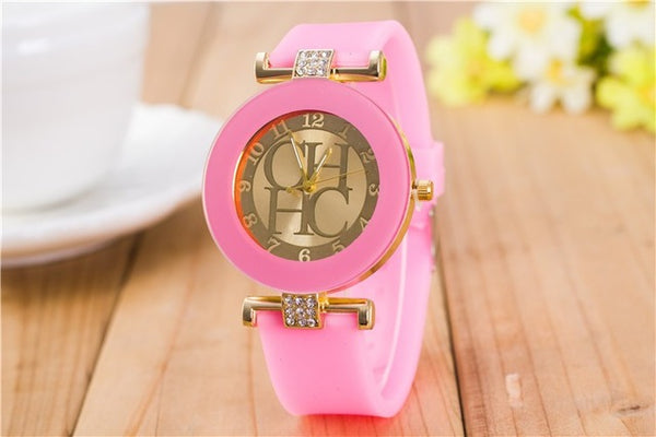 Women Crystal Silicone Watch - Pink
