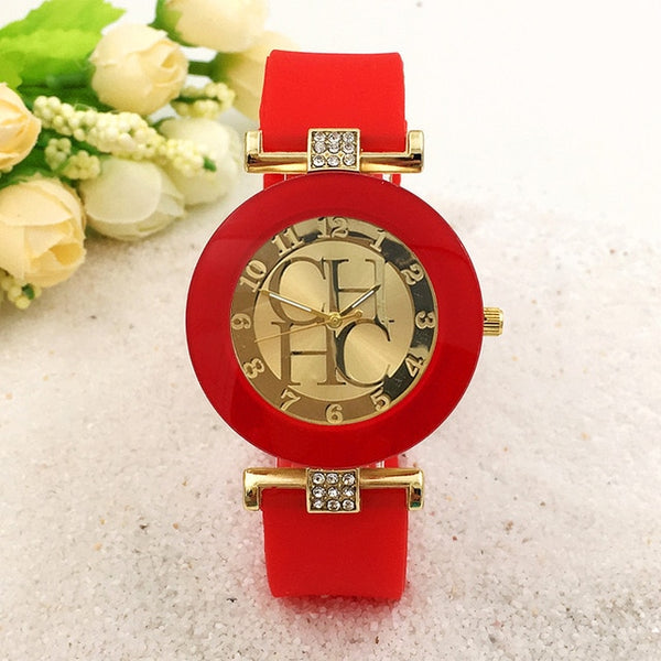 Women Crystal Silicone Watch - Red