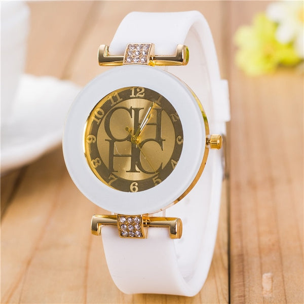 Women Crystal Silicone Watch - White