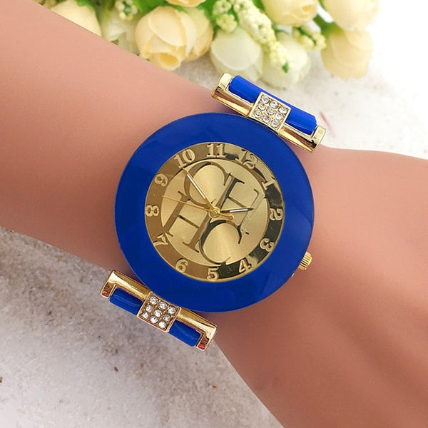 Women Crystal Silicone Watch - Blue