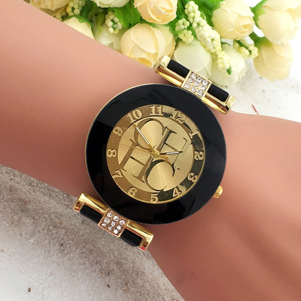 Women Crystal Silicone Watch - Black