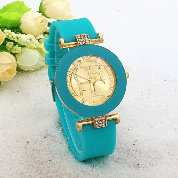 Women Crystal Silicone Watch - Sky Blue