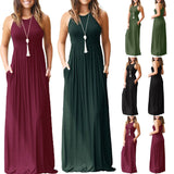 Sexy Women Boho Maxi Club Solid Sleeveless Vest Dress Bandage Long Dress