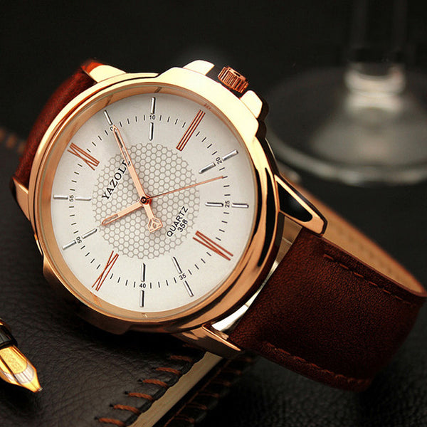 Montre-bracelet en or rose avec quartz pour homme Montre en or Relogio Masculino - Wholesale_Star_1