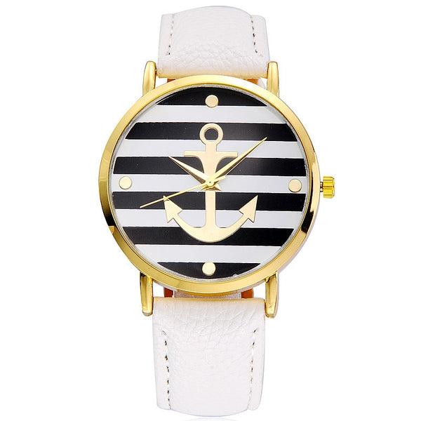 Boat Anchor Leather Quartz Watches Geneva White Watches