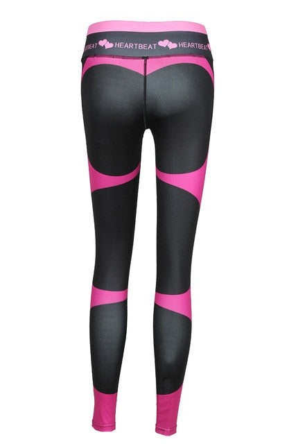 High Waist  Fitness Legging Women Heartbeat Print Push Up Sexy Leggings