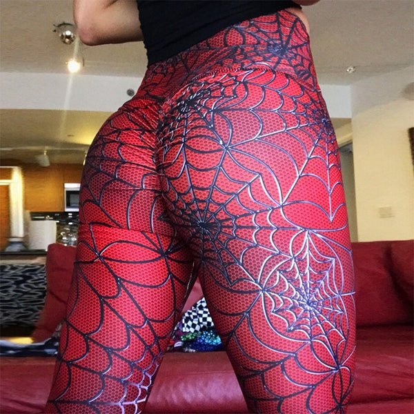 Women Solid Color New Spider Line Printing Leggings Slimming Fitness