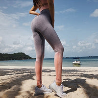 Push Up Yoga Leggings Compression Tights - Pink Grey