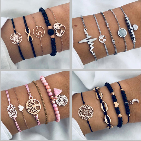 Bohemian Tree Beaded Bracelets Sets For Women Vintage Fashion