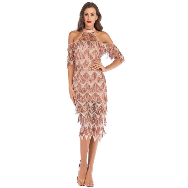 Babae Elegant Sequined Evening Party Dress Cold Shoulder Formal Vestidos Mesh Runway Dress Sexy Night Club Tassels Fringe Dress - Wholesale_Star_1