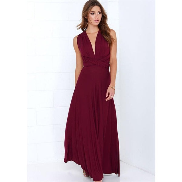 Sexy Women Multiway Wrap Convertible Boho Maxi Club Red Dress - Wholesale_Star_1