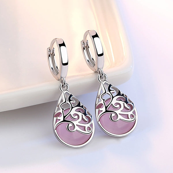 Ang 925 Sterling Silver Moonlight Opal luha ng Totem Earrings - Wholesale_Star_1