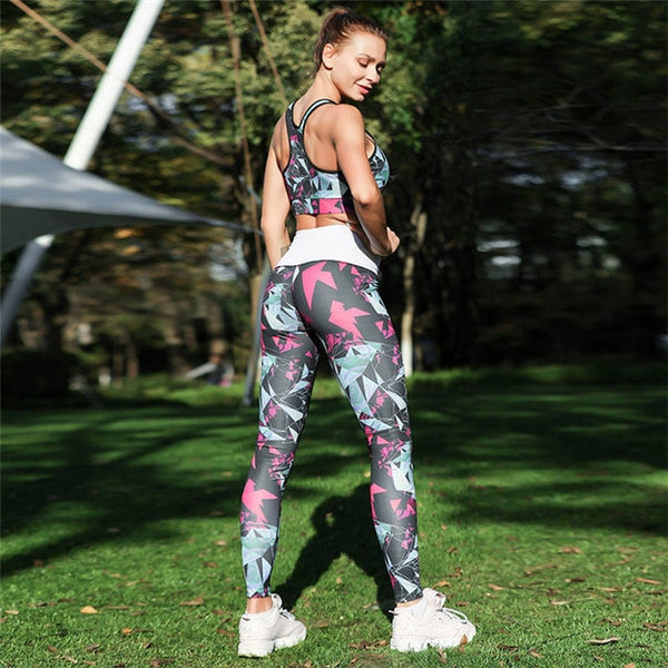 Fitness Leggings Patchwork Ankle-Length Trouser High Waist Women Set