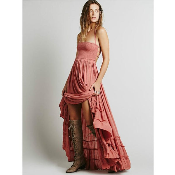 Summer Crinkly Strapless Extratropical Maxi Dress Halter Neck Tie Beach