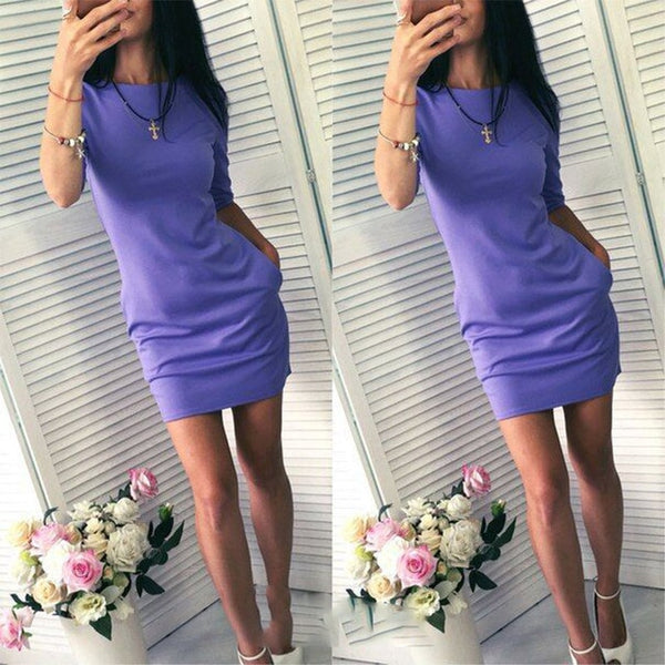 Half Sleeve Sexy Bodycon Mini Dress Women's Solid O Neck Pocket Slim - Wholesale_Star_1