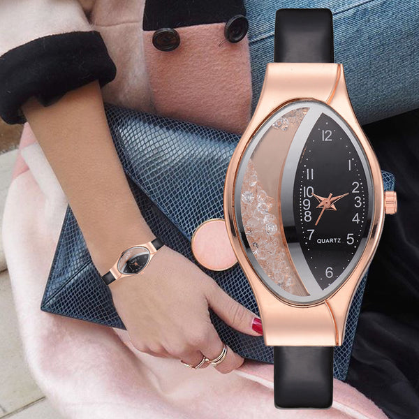 Luxury Ellipse Rhinestone PU Sport Quartz Watch Wrist Watches Creative Gifts