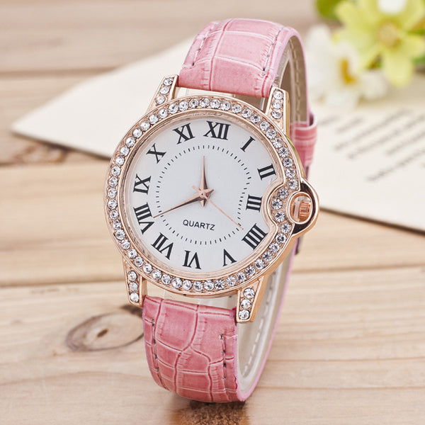 Geneva Women Watch Leather Band Stainless Steel Quartz Top Gift - Wholesale_Star_1