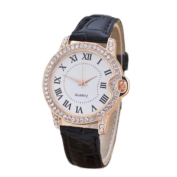 Geneva Women Watch Leather Band Stainless Steel Quartz Top Gift