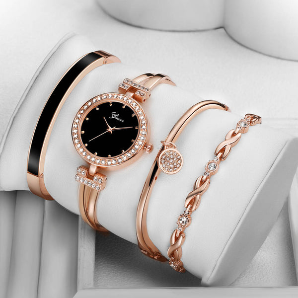 4 PCS Set Ginave Watch Women Rose Gold Diamond Bracelet Watch