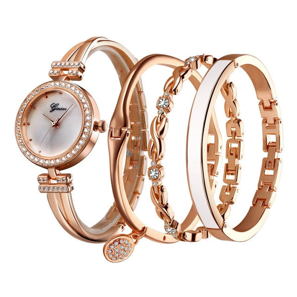 4 PCS Set Zegarek damski Ginave Rose Gold Diamond Watch