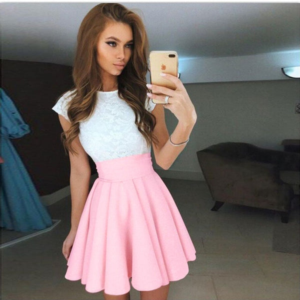 Beach Summer Dress Candy Color - Pink