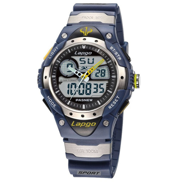Professional Men's Sports Dual Display Watch - Blue