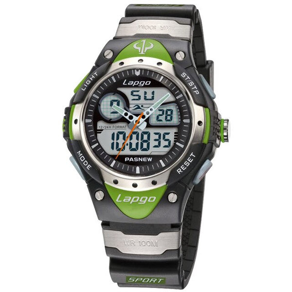 Professional Men's Sports Dual Display Watch - Green