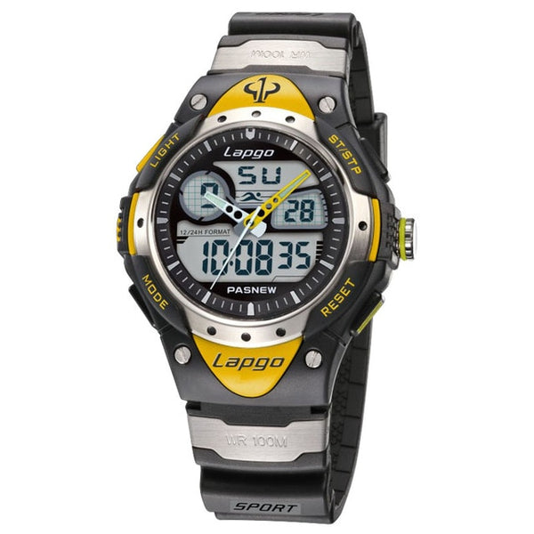 Professional Men's Sports Dual Display Watch - Yellow
