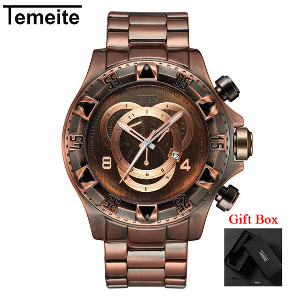 Men's Luxury Gold Men Big Dial Quartz Watch Gifts