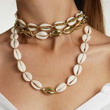 Shell Necklace Bracelet Set 3 Different Design Gold Color Jewelry Necklace Set