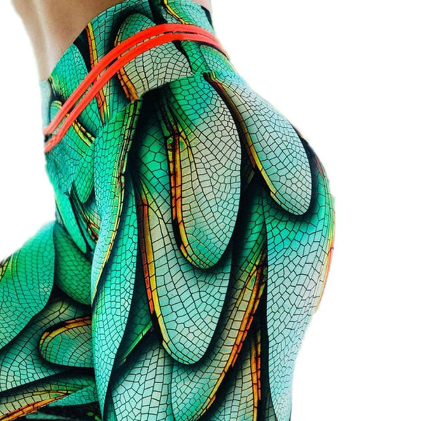 Payat ang 3D green na leggings ng dragonfly para sa fitness pants - Wholesale_Star_1