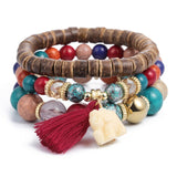 Crystal Bead Bracelets for Women Vintage Tassel Natural Stone
