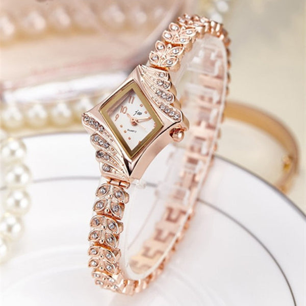 Women Bracelet Luxury Rhinestone Gold Wristwatches