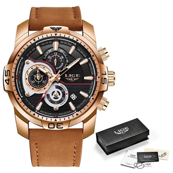 LIGE Top Brand Luxury Leather Quartz Sport Waterproof Gold Watch