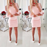 Women Dress Sexy Hollow Out One Shoulder Bodycon Mini Dress Sexy