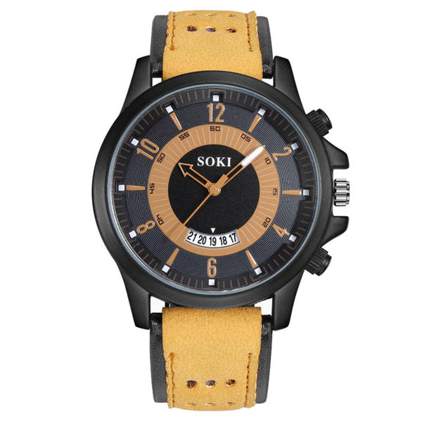 SOKI Men Watch Luxury Gel Leather Wrist Watches Gift