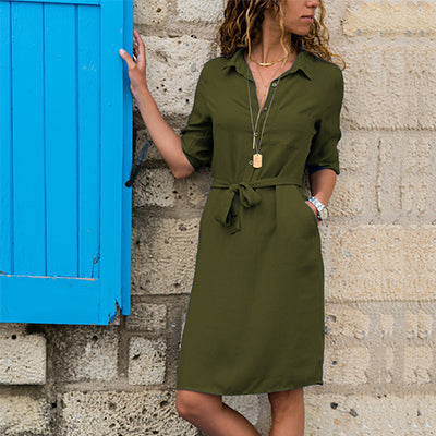 Turn-Down Collar Shirt Dresses Women Button Slim Waist Lacing 3/4 Sleeve Breathable Dresses