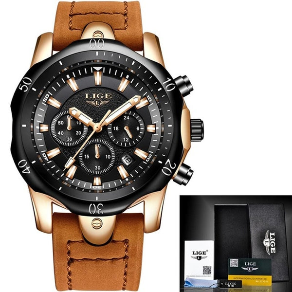 LIGE Mens Watches Brand Luxury Blue Quartz Watch