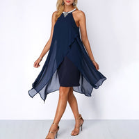 Plus Size Summer Chiffon Sleeveless Dress - Blue