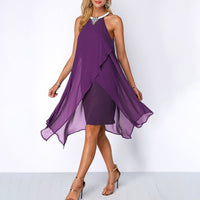 Plus Size Summer Chiffon Sleeveless Dress - Purple