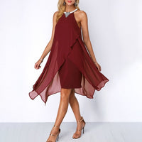Plus Size Summer Chiffon Sleeveless Dress - Red