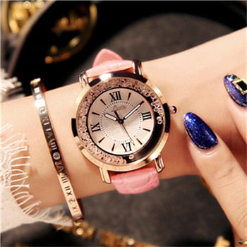 Flowing Diamond Dial Design Luxury Fashion Quartz Watch