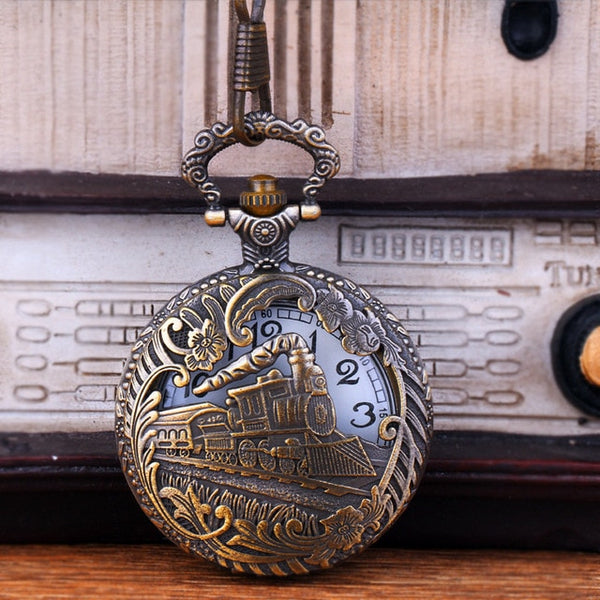 Vintage Gold Motor Railway Train Steampunk Pocket Watches  Pendant Gift